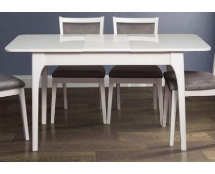 Деревянный обеденный стол Фиеста со стеклом (белый)