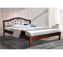 Деревянная кровать Илона с ковкой