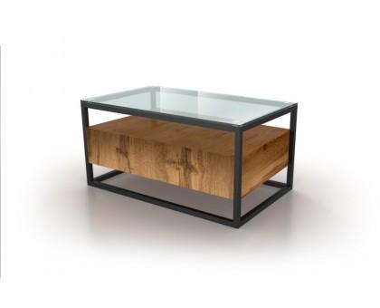 Журнальный стеклянный стол в стиле лофт BOX