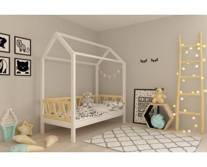 Кровать-домик Лиза 80х160 см белая с вставками ольха